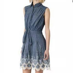Women's Beige by ECI Embroidered Denim Dress Sz 8